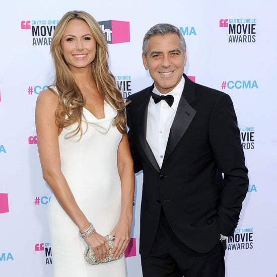 George Clooney was smiling with Stacy Keibler on his arm at the Critics' Choice Movie Awards.