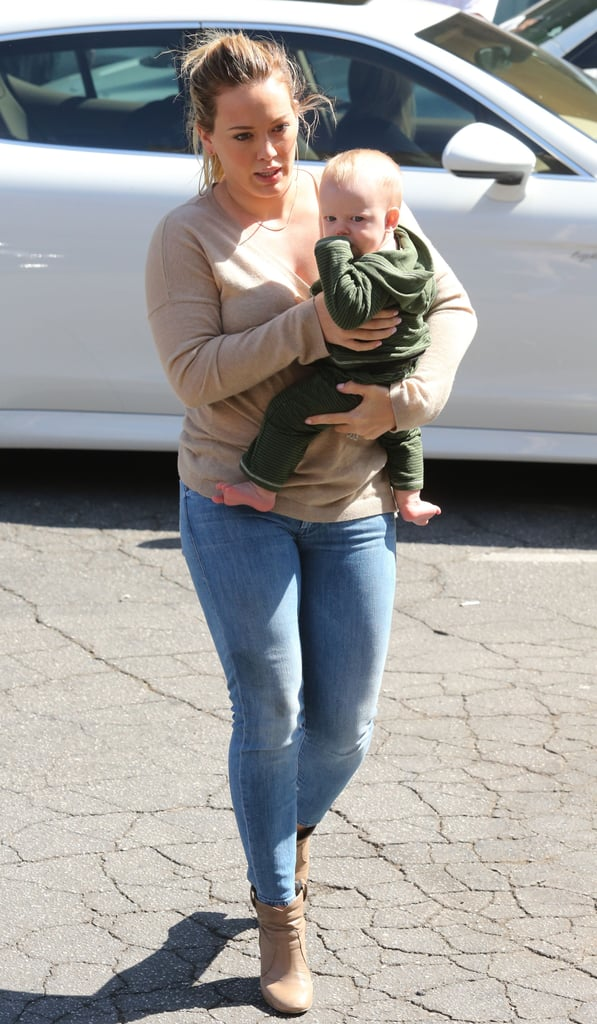Hilary Duff paired her jeans with boots.