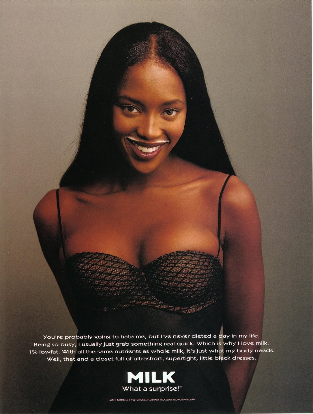 """Naomi Campbell modeled a mustache with a bustier for her """"Got Milk?"""" ad."""
