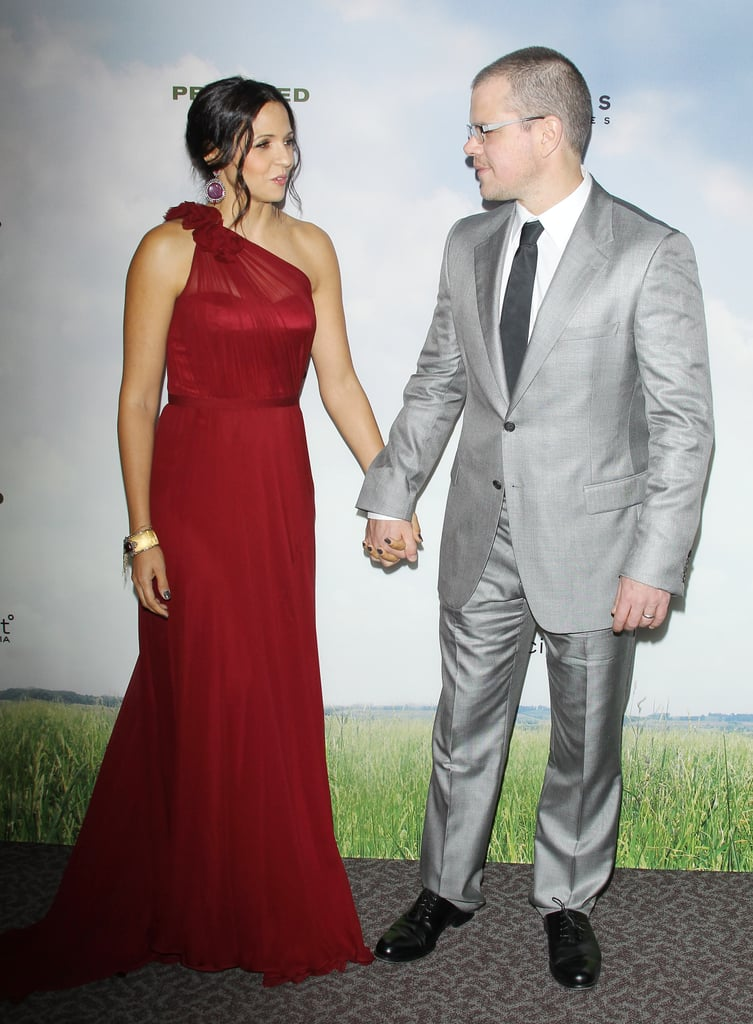 Matt and Luciana Damon hit the carpet in LA to premiere Promised Land in December 2012.