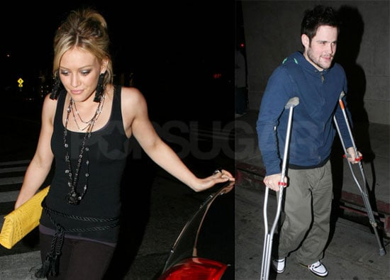 Hilary Duff and Mike Comrie Go Out in LA, With Him on Crutches