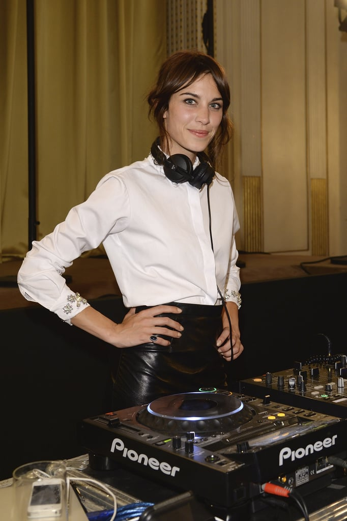 Alexa Chung spun tunes in a leather skirt as stylish partygoers listened in.