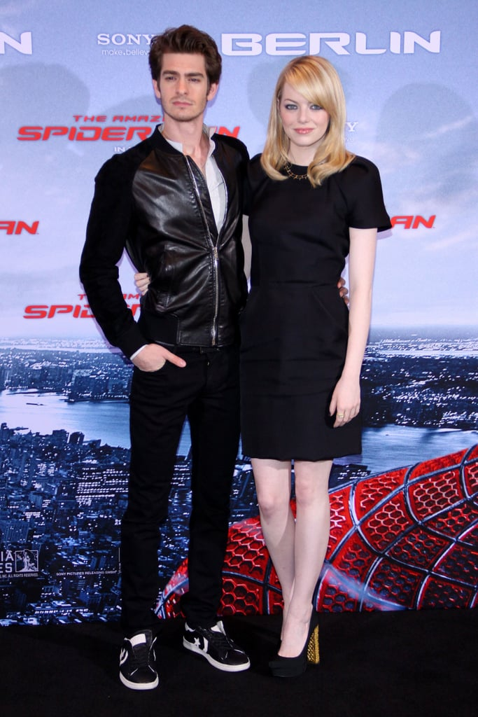 Andrew Garfield and Emma Stone stuck together at the Berlin photocall for The Amazing Spider-Man.