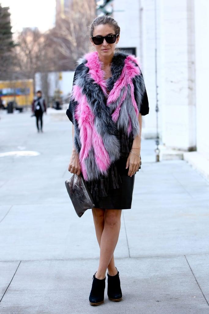 Bubble-gum-colored fur popped against a black skirt.