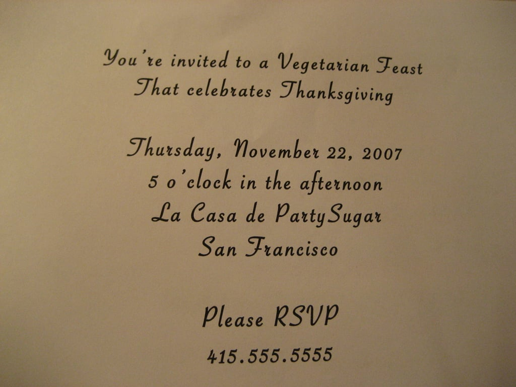 Come Party With Me: Vegetarian Thanksgiving — Invites