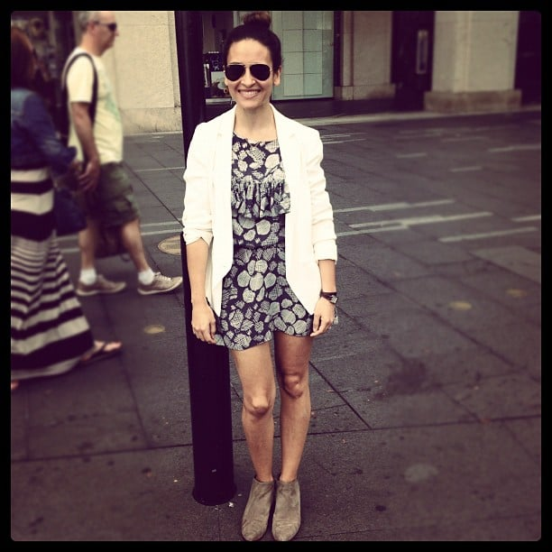 Publisher Marisa wears Arabella Ramsay dress, Madewell jacket, Sam Edelman boots and her trusty Ray-Bans.