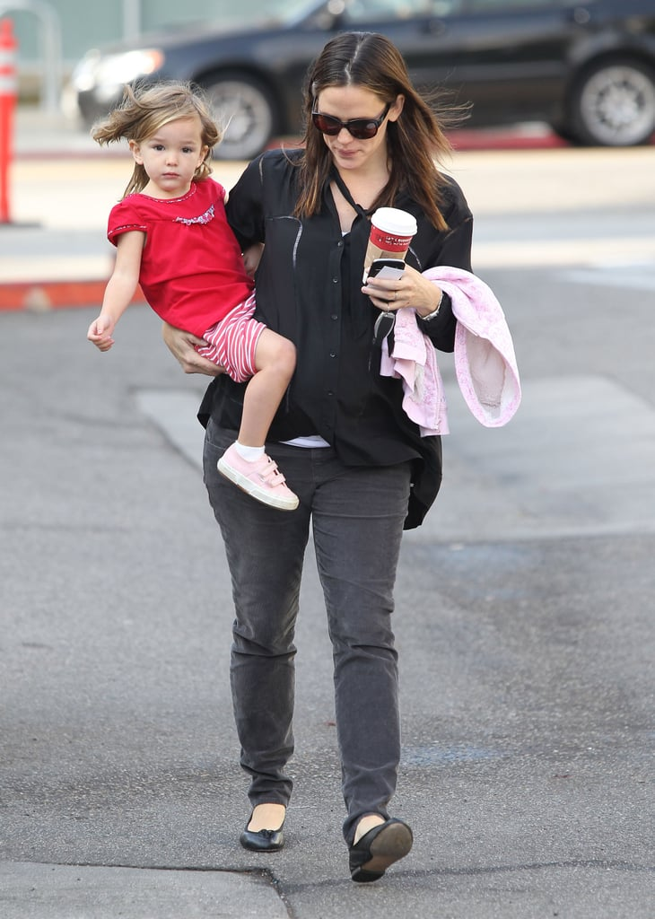 Jennifer Garner and Seraphina Affleck left Starbucks.