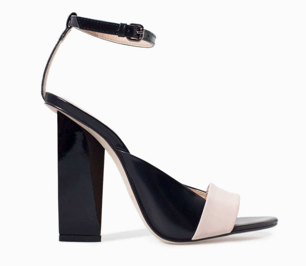Zara geometric blush and black ankle-strap heels ($100)