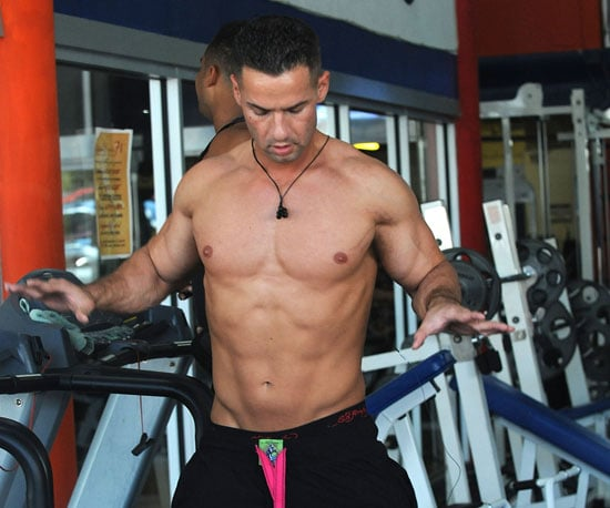 Slide Photo of Mike 'The Situation' Sorrentino Running Shirtless on the Treadmill in Miami