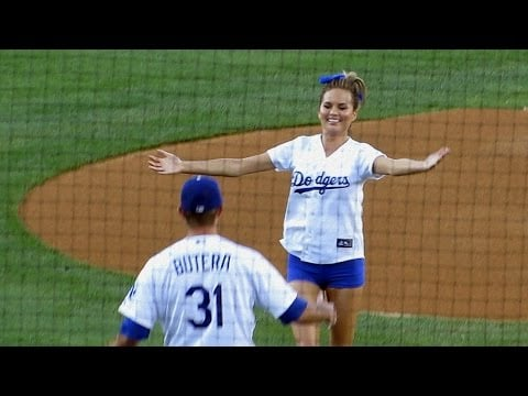 She nailed her opening pitch at the Dodgers game (even though she was drunk).