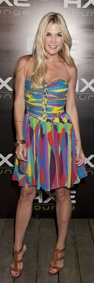 Tinsley Mortimer in Multicolor Strapless Dress and Jimmy Choo Heels