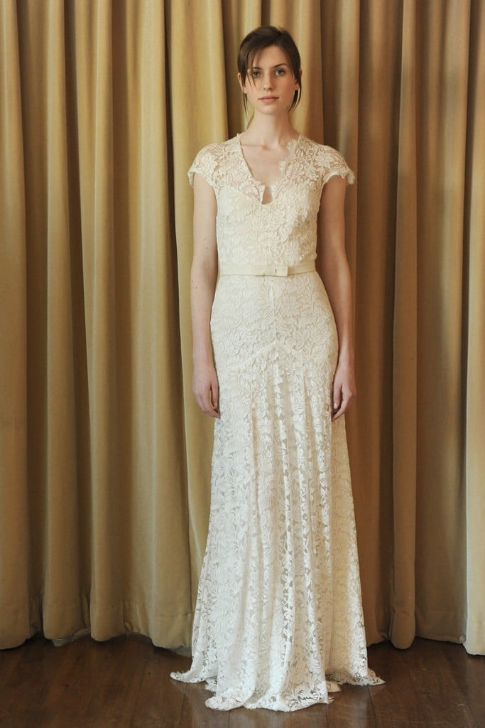 """This picture does not do this Temperley dress justice because it's stunning in person. The allover lace is so romantic, it's got my favorite detail — the cap sleeve — and I think it would be lovely with long wavy hair in a garden wedding."" — Noria Morales, style director"