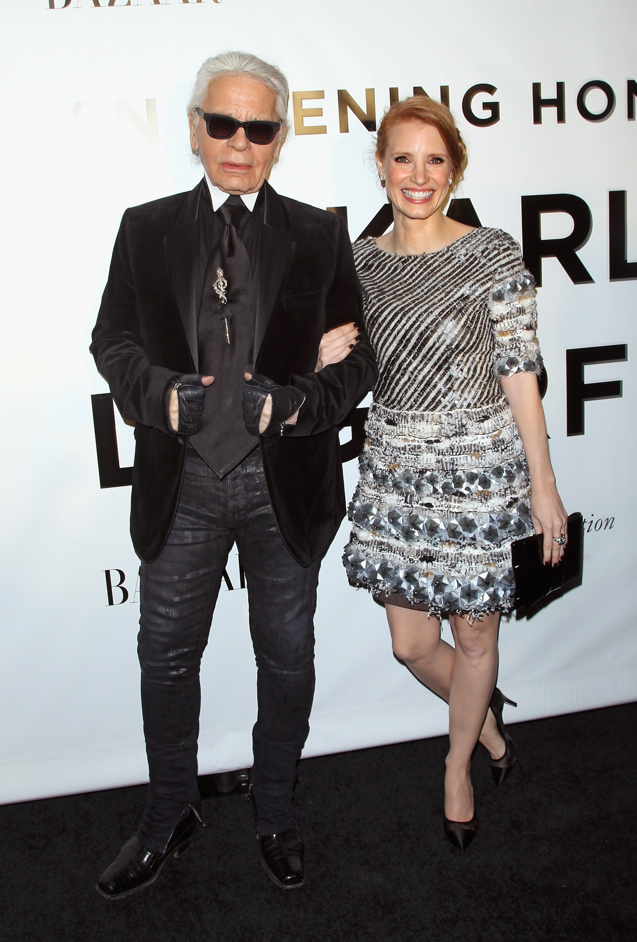 Karl Lagerfeld had a stunning date in Jessica Chastain, who wore his Haute Couture designs to an evening in his honor.