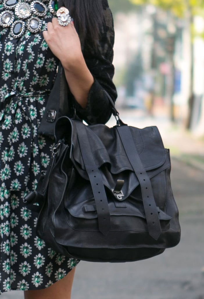 This styler tempered a bold little print with a covetable Proenza Schouler satchel. Source: IMAXtree