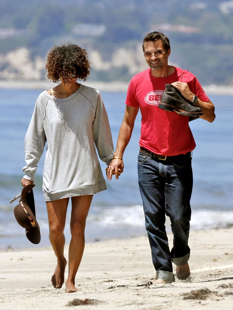 Halle Berry and Olivier Martinez walked hand in hand on the beach over Memorial Day weekend in May 2012.