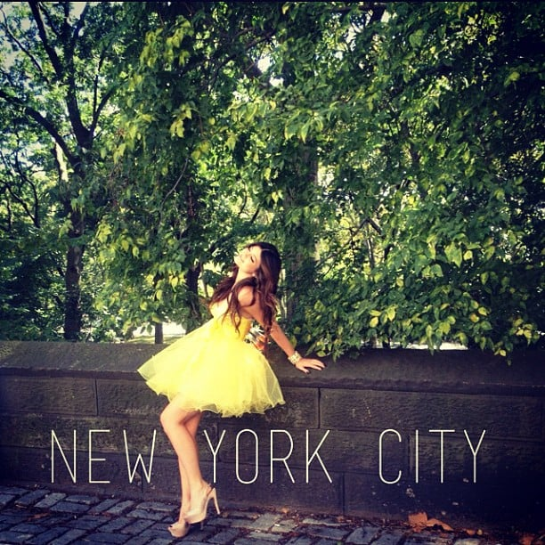 A dressed up Kylie Jenner posed in Central Park during NYFW. Source: Instagram user kylieejennerr