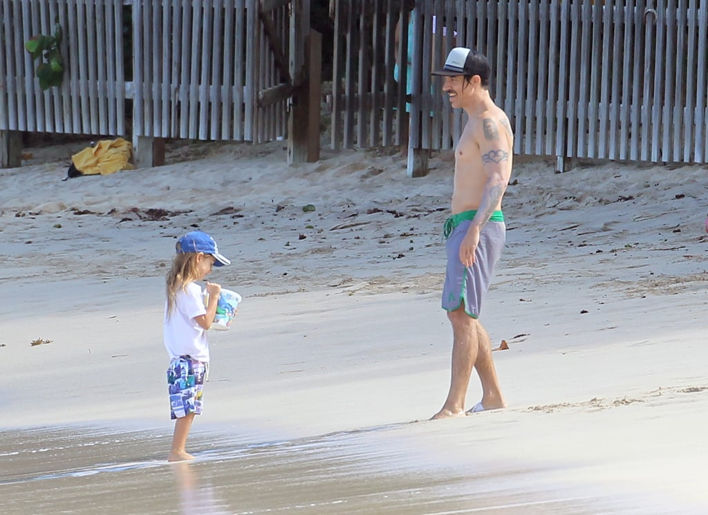 Red Hot Chili Peppers singer Anthony Kiedis vacationed with his son, Everly Kiedis, during a December 2011 getaway to St. Barts.