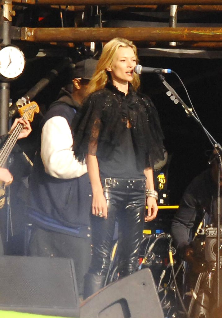 For a spot on stage with then-boyfriend Pete Doherty's band, Kate went for the rocker look with skinny leather jeans and a capelet.