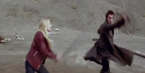 That spark culminates in a full-on swordfight when they're still in Fairy Tale Land in season two, and it's awesome to see Emma be so fierce.