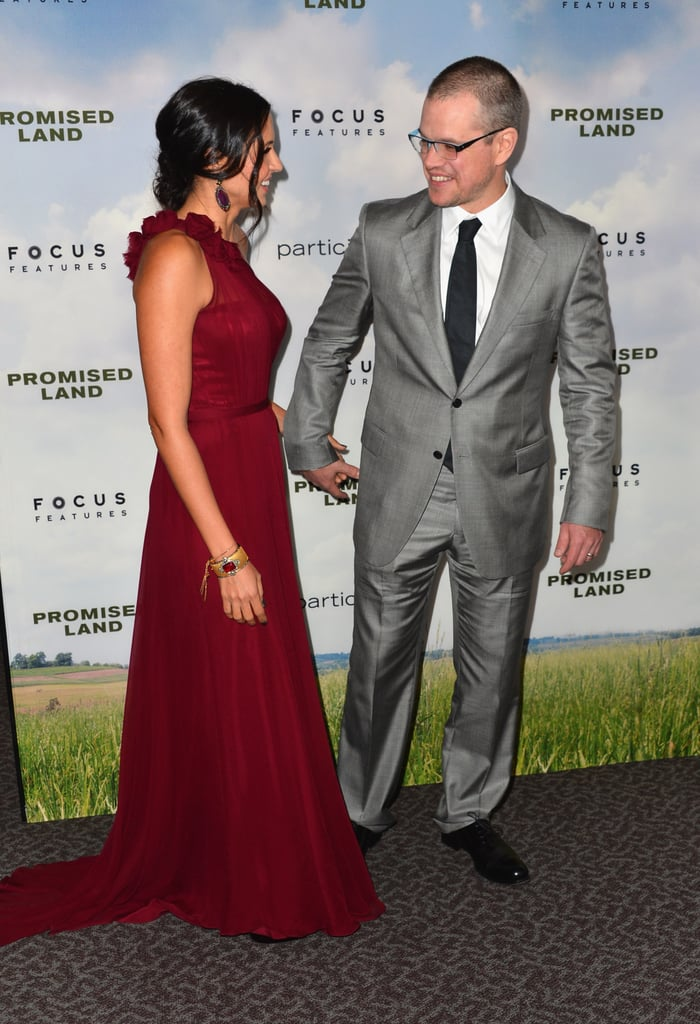 Matt and Luciana Damon walked the red carpet at the premiere of Promised Land.