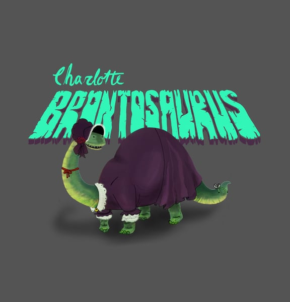 """Charlotte Brontosaurus  The concept: """"Hampered by an avian respiratory system, a reptilian resting metabolism, and four left feet, Charlotte Brontosaurus wasn't too fond of physical activity, and instead passed the time writing. Her indoor dino ways led to the creation of the most critically acclaimed book of the Toarcian period, Jane Eyre. Originally publishing the novel under the pseudonym Currer Belodon to avoid sauropod discrimination, Charlotte eventually revealed herself and spent the rest of her days sipping decanted swamp water among high-society megareptiles."""" The Real Deal: English author Charlotte Brontë is best known for writing Jane Eyre in 1847, but did you know she first wrote it under the pen name Currer Bell?"""