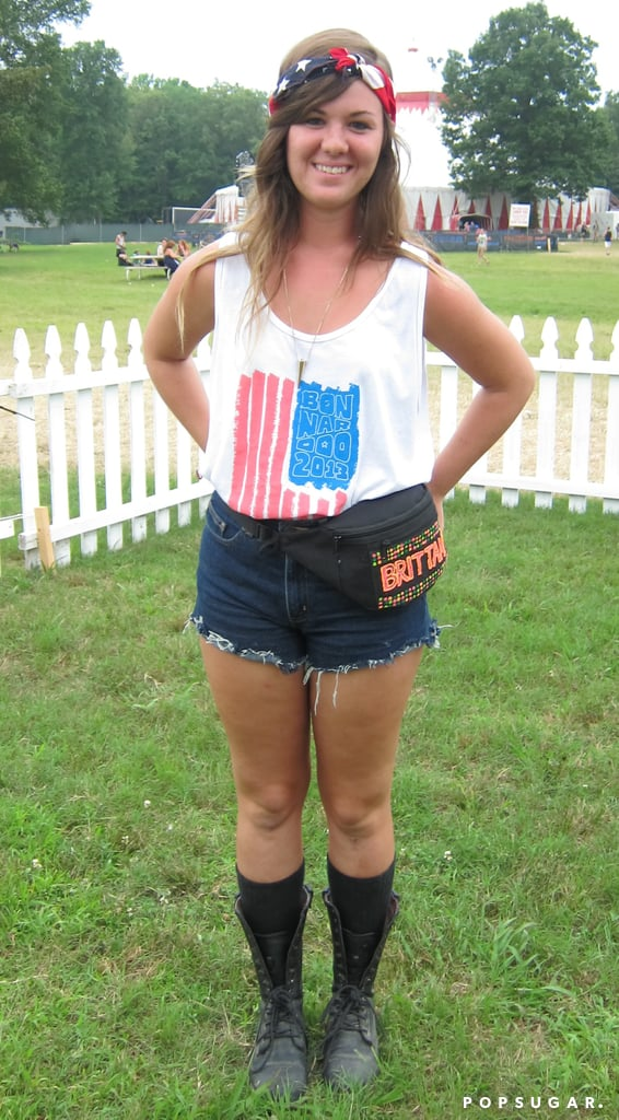 Keep your hair off your face and show your love for your country with an American flag bandanna, like this festivalgoer did. Photo: Marisa Tom