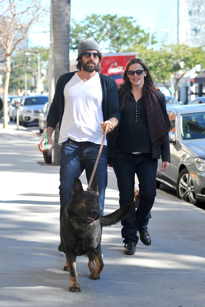 Jennifer Garner and Ben Affleck walked their new puppy, a German Shepherd, during a January stroll in their neighborhood.