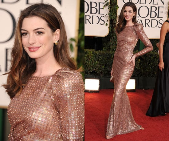 Anne Hathaway in sleek and sexy Armani at 2011 Golden Globe Awards