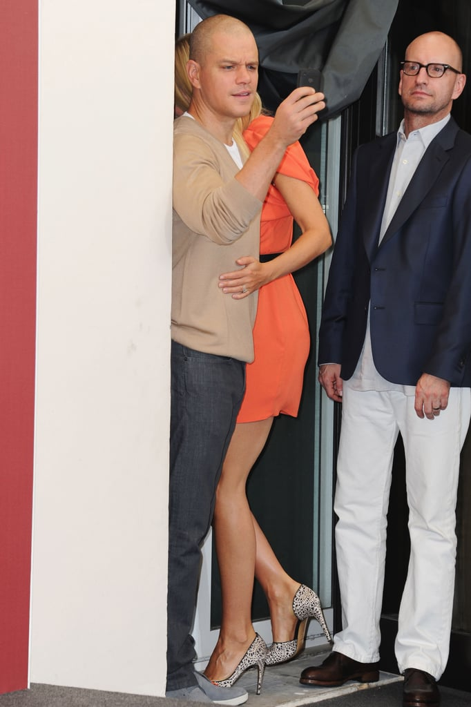 Gwyneth Paltrow and Matt Damon joke in Venice with Steven Soderbergh.