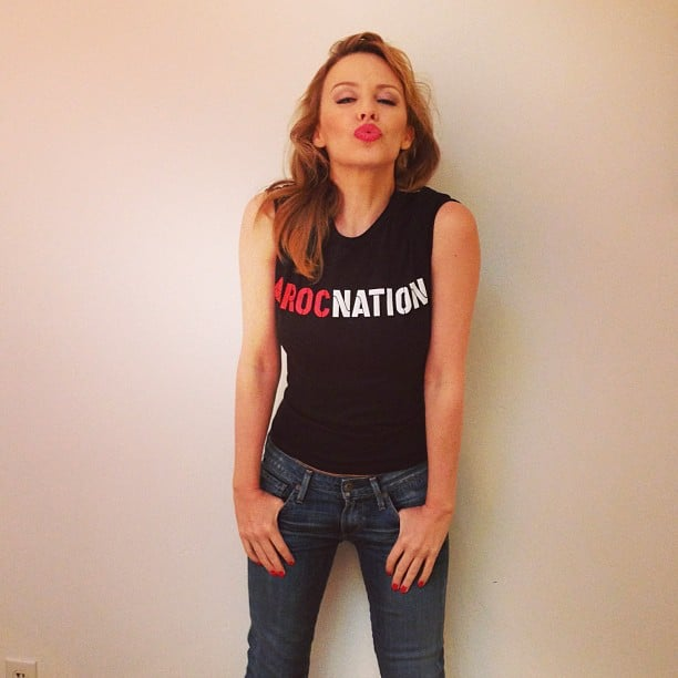 Kylie Minogue shared her new RocNation status with a kiss. Source: Twitter user kylieminogue
