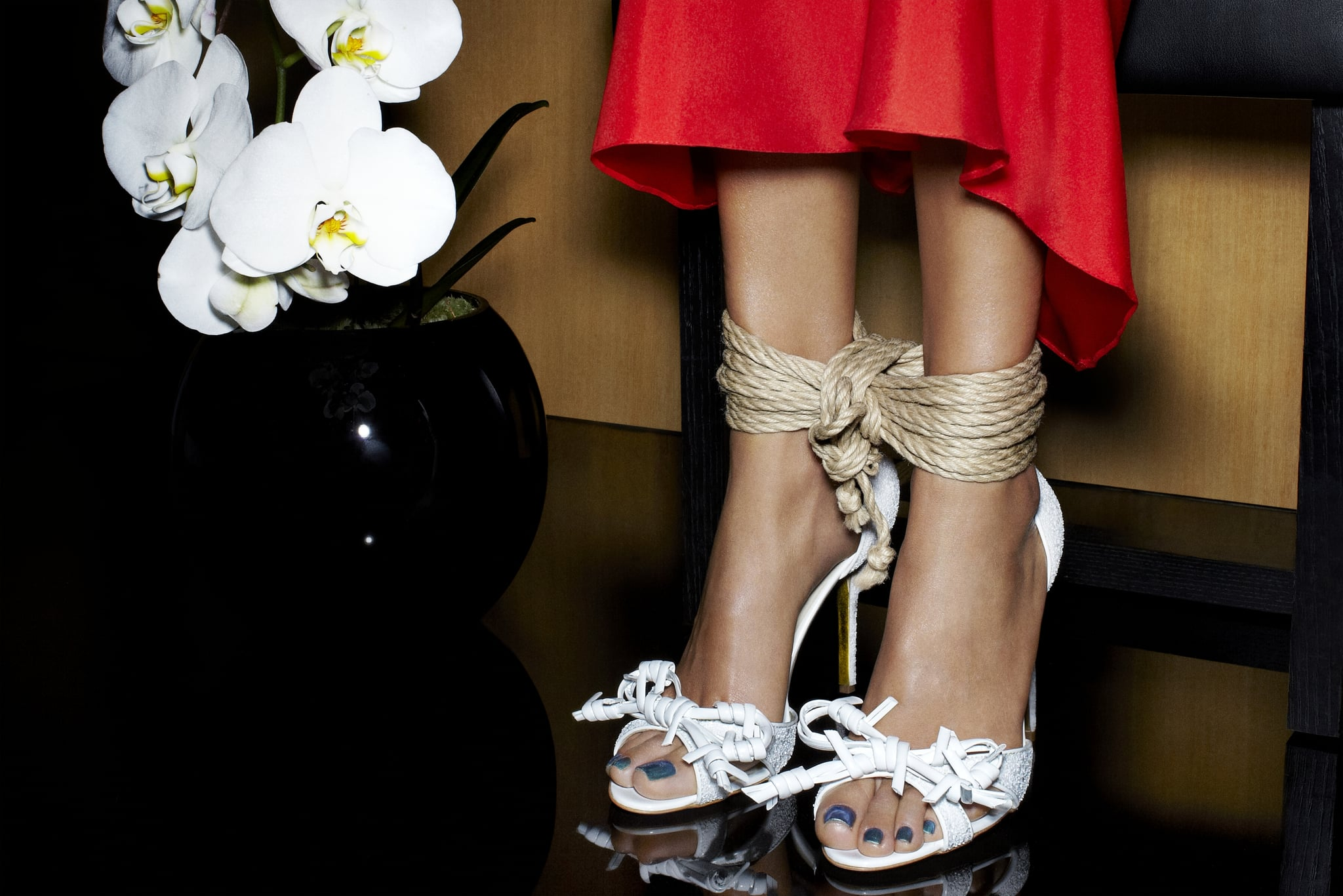 Rupert Sanderson's white Pucelle sandals (rope not included!) remind us of barbed wire in the most fashionable way possible.  Photos courtesy of Rupert Sanderson