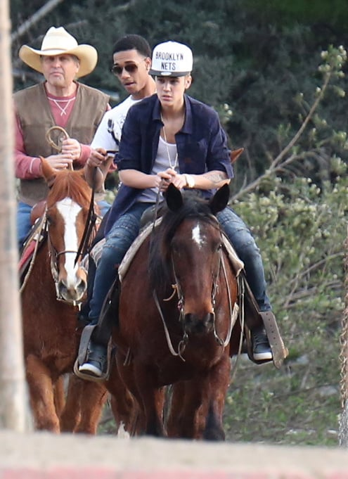 Justin Bieber went horseback riding with friends.