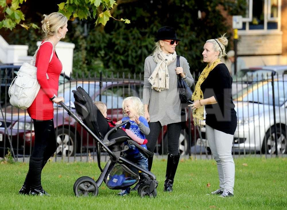 Zuma Rossdale and Gwen Stefani visited with friends.