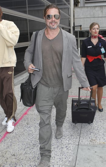 Brad Pitt flashed a smile at LAX.