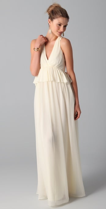 This is a great option for an elegant fete, albeit with just a touch of femininity via a flirty ruffle at the waist.  Tibi Long V Neck Dress ($675)