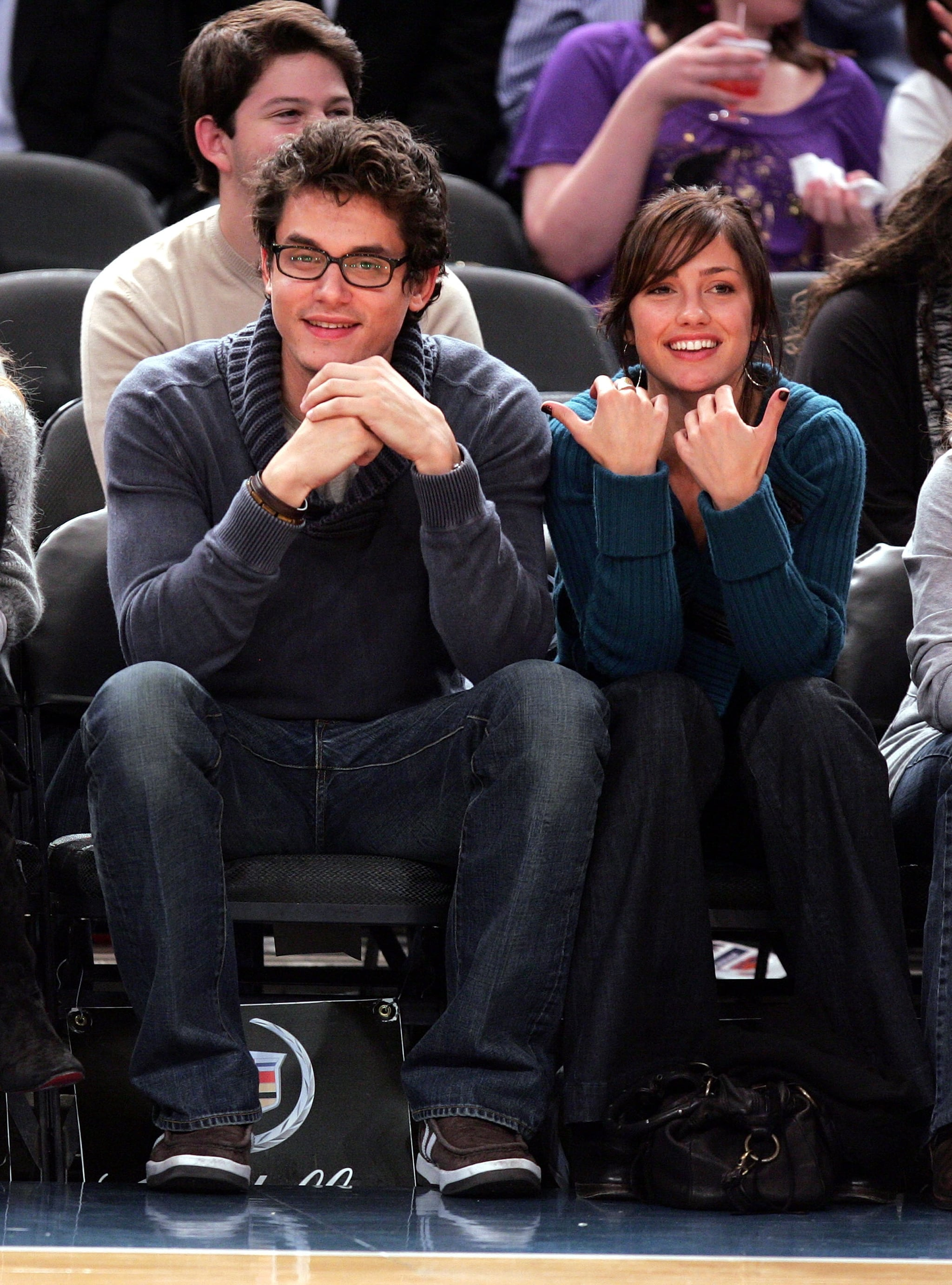 John Mayer sat courtside with then-girlfriend Minka Kelly for a NY Knicks game in November 2007.