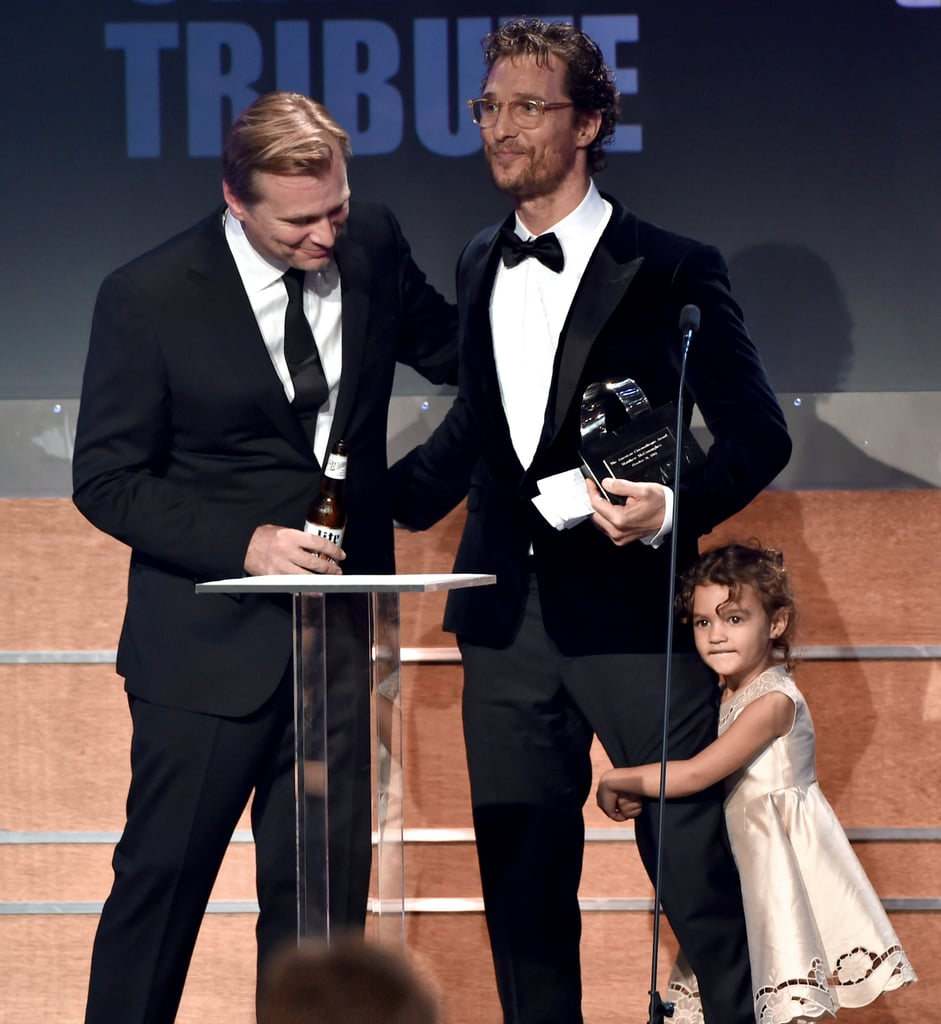 Matthew's daughter, Vida, clung to his leg at the American Cinematheque Awards in October 2014.