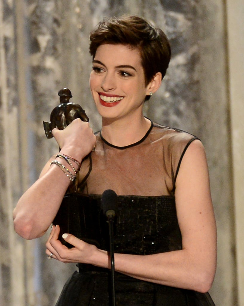 Anne Hathaway won the SAG for her supporting role as Fantine in Les Misérables.