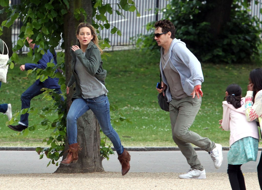 Kate Hudson and James Franco ran while on set in London.