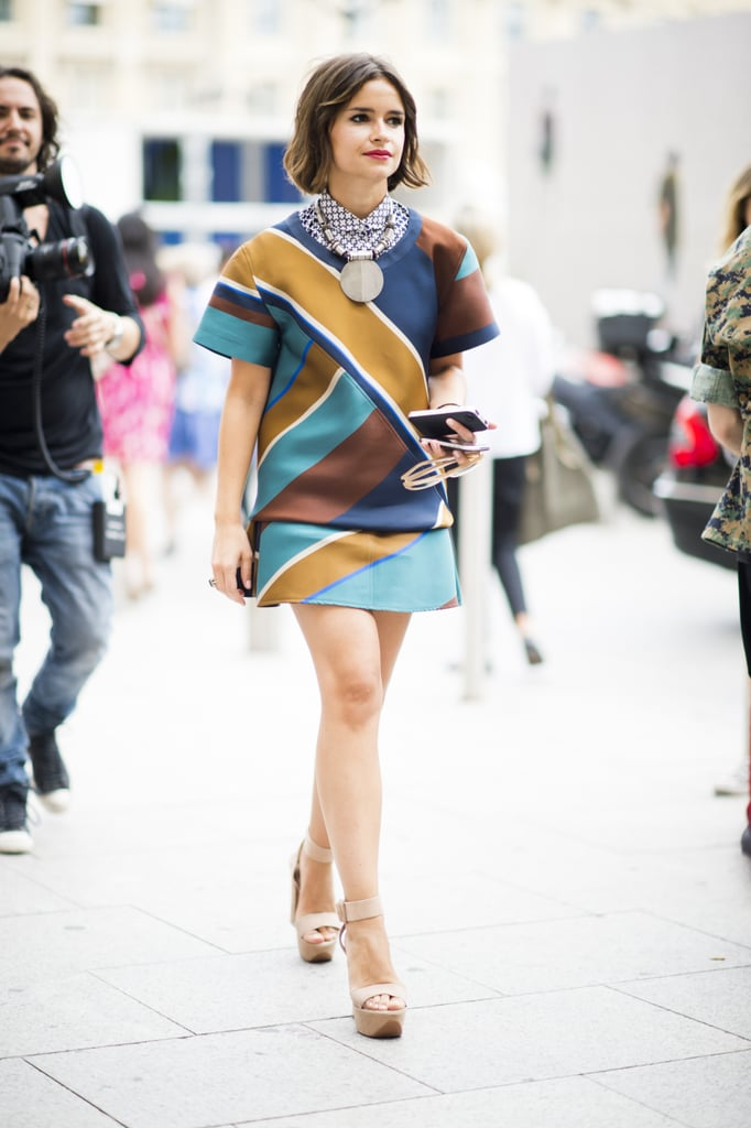 Miroslava Duma gave life to the print-on-print trend — and then some, with her major statement necklace.