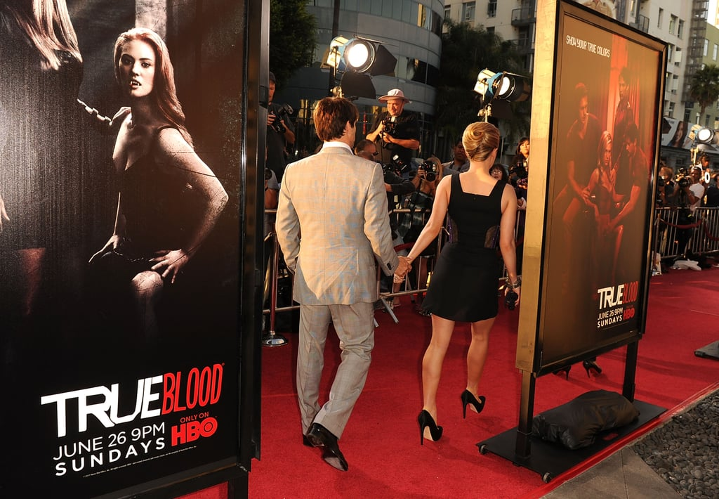 Anna Paquin and Stephen Moyer were hand in hand as they headed inside for the True Blood season four premiere.