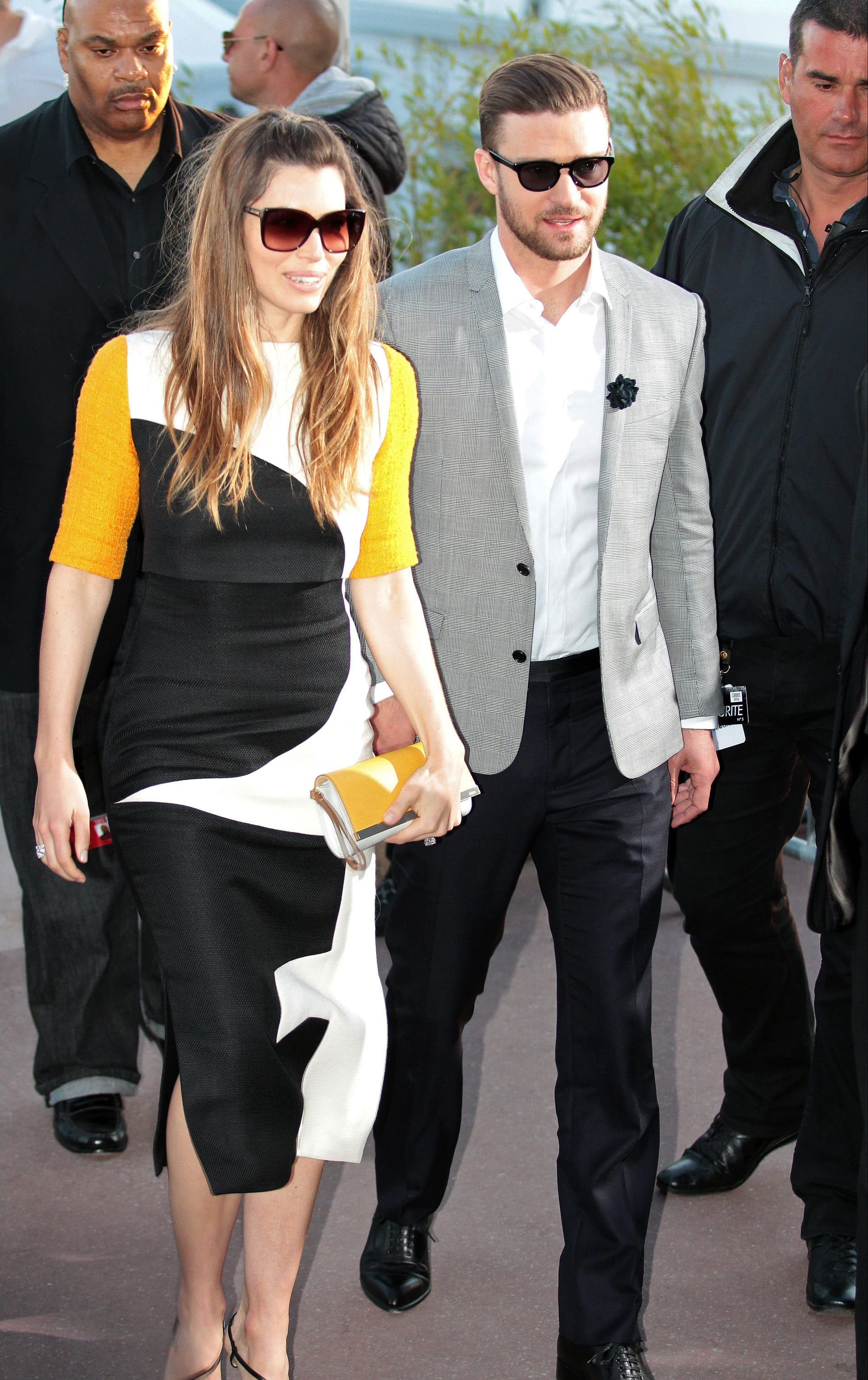 Jessica Biel and Justin Timberlake left the Le Grand Journal studio in Cannes on Monday.