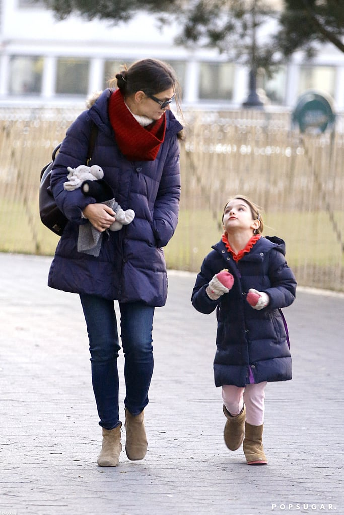 Katie Holmes and Suri Cruise wore puffy jackets.