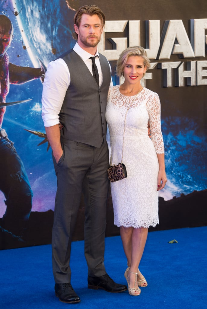 Chris Hemsworth and Elsa Pataky posed at the Guardians of the Galaxy premiere in London on Thursday.