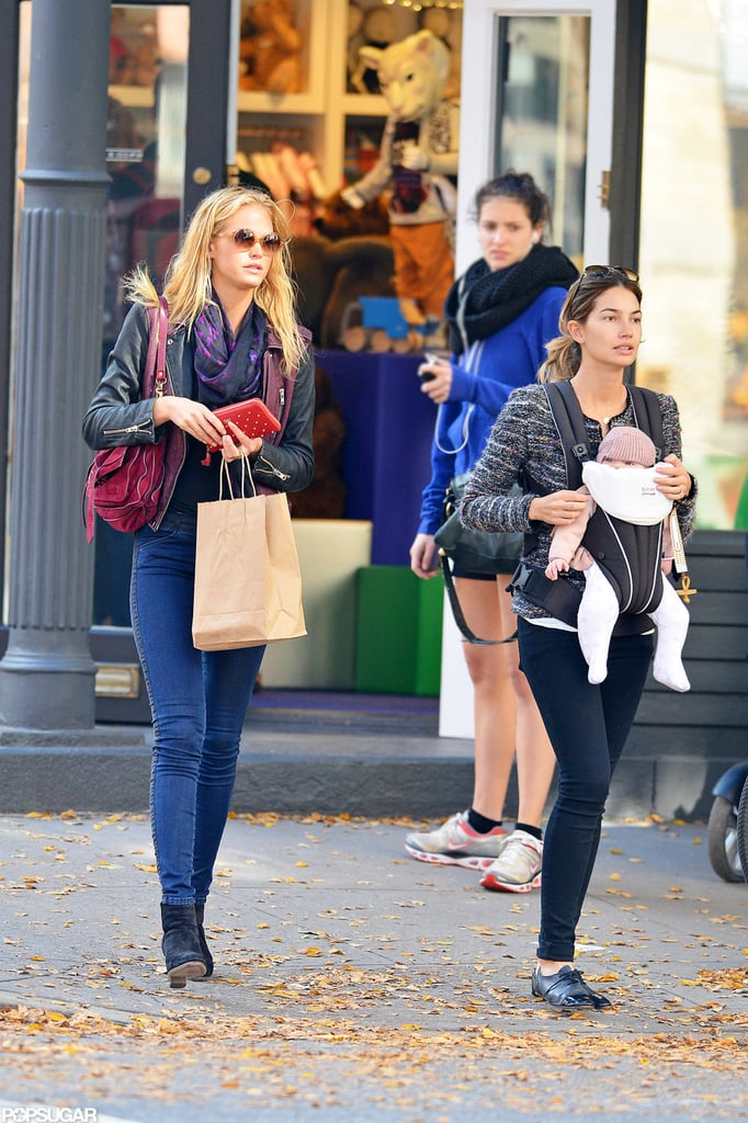 Lily Aldridge and Erin Heatherton walked in NYC with baby Dixie Followill.