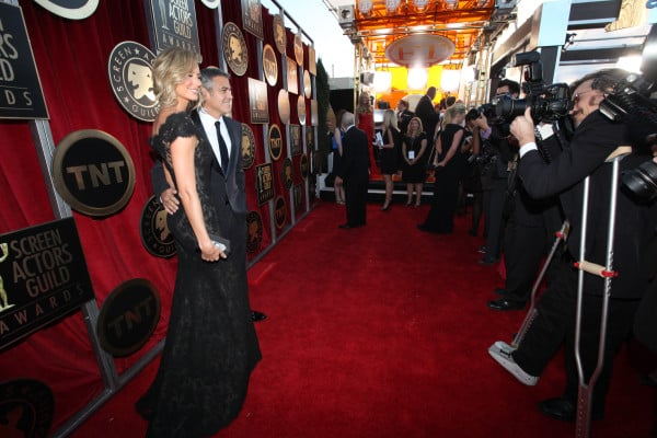 George Clooney snapped a photo with Stacy Kiebler, who is wearing a Marchesa dress. Twitter User: SAGawards