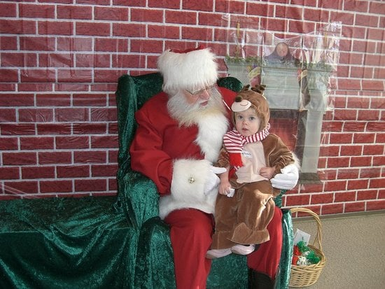 Sitting with Santa.