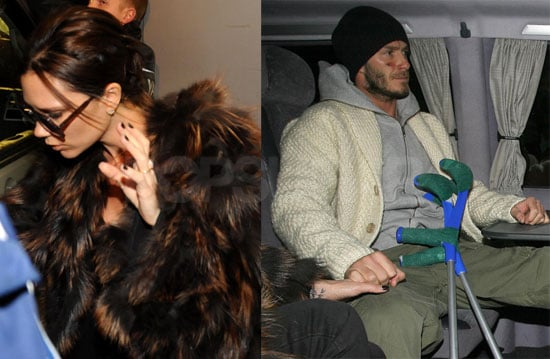 Photos of Victoria and David Beckham With Leg in a Cast After Surgery on His Achilles Tendon