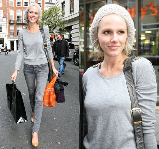 Actress Monet Mazur in All Gray Outfit Shopping in London