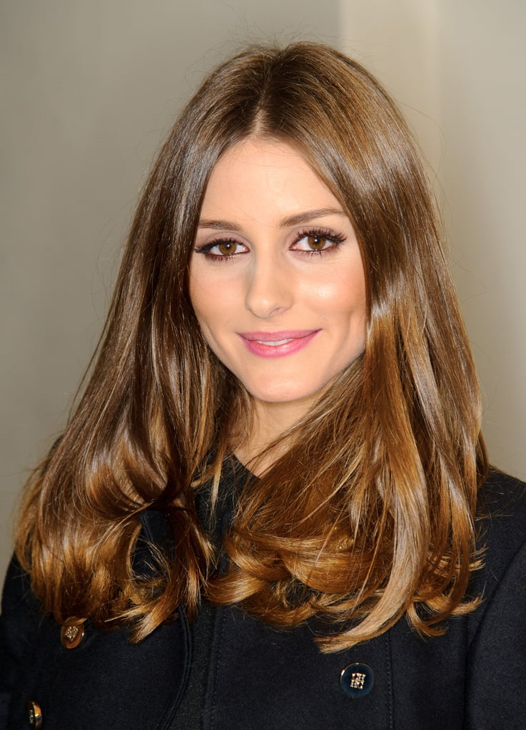 Olivia Palermo sticks with what works, and this hairstyle was simple but very flattering. You can get her look with a quick blow-dry using a medium round brush, like Spornette's 955 Italian Double Bristle Boar Round Brush ($22, originally $29), to smooth out strands and curl at the ends. Finish with a middle part and a little shine serum if needed.